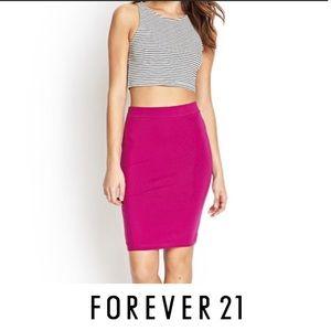 F21 Body Con Skirt Magenta